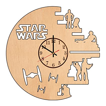 cfbc40a79 Image Unavailable. Image not available for. Color  Star Wars Style Decor  Handmade Wood Wall Clock - Modern ...