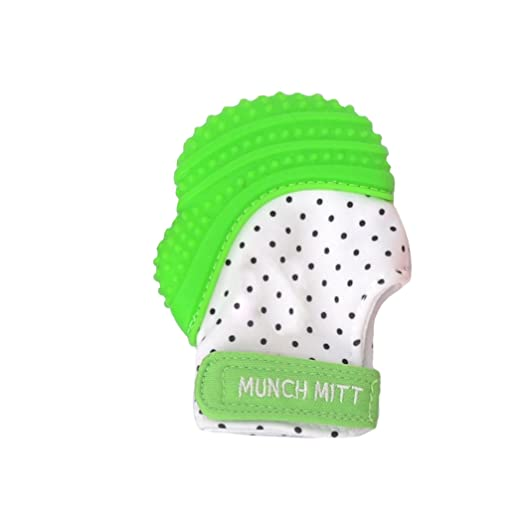 Malarkey Kids Munch Mitt Teething Mitten - The ORIGINAL Mom-Invented Silicone Teether Mitten with Travel Bag - Ideal Teething Toys for Baby Shower Gift - Green Polka Dot
