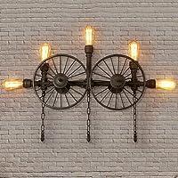WQBD - Lámpara de pared retro de hierro estilo industrial decorativa para mesita de noche, sala de estar, dormitorio, lámpara de pared