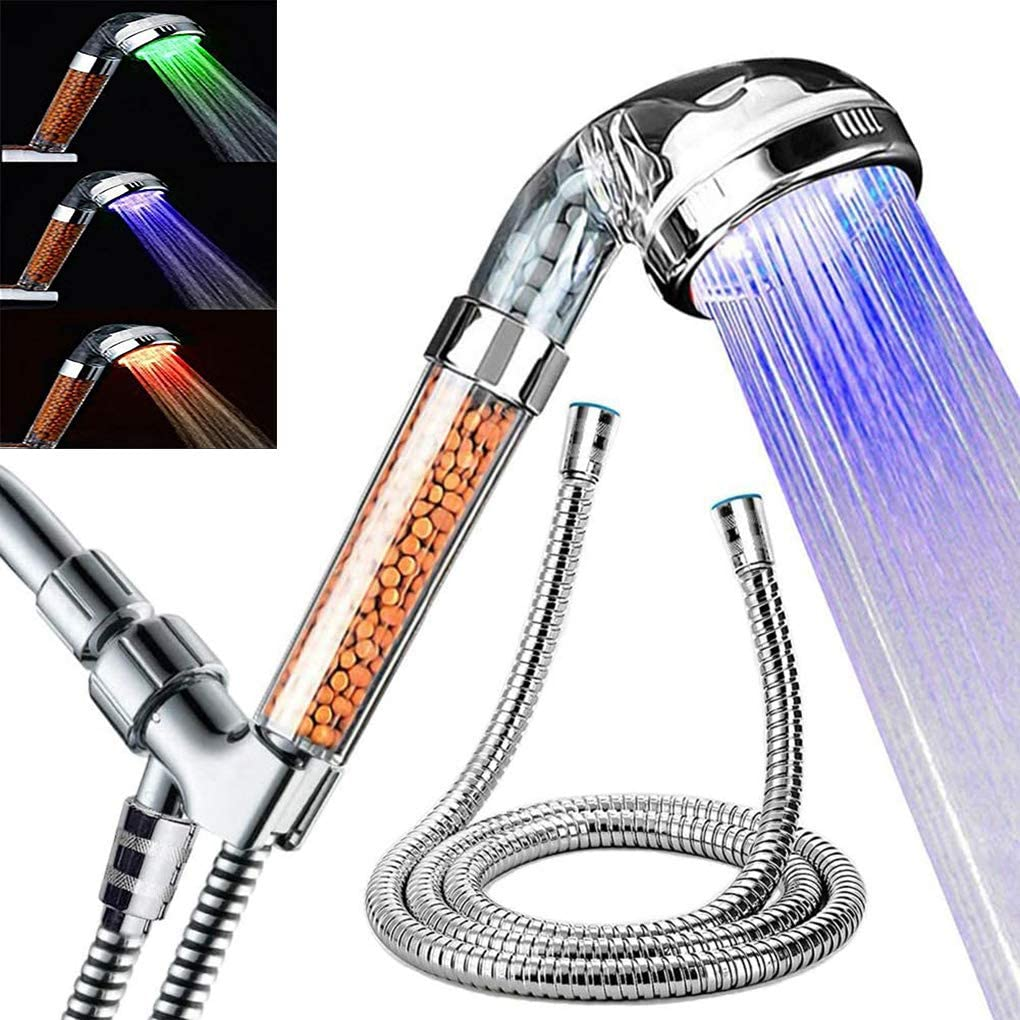 SEANADO LED Shower Head with Temperature Display,Replacement Filter and Shower Bracket,Rainfall 3 Colors Changing High Pressure Spray Filter Showerheads Waterproof Lights for Hard Water Softener