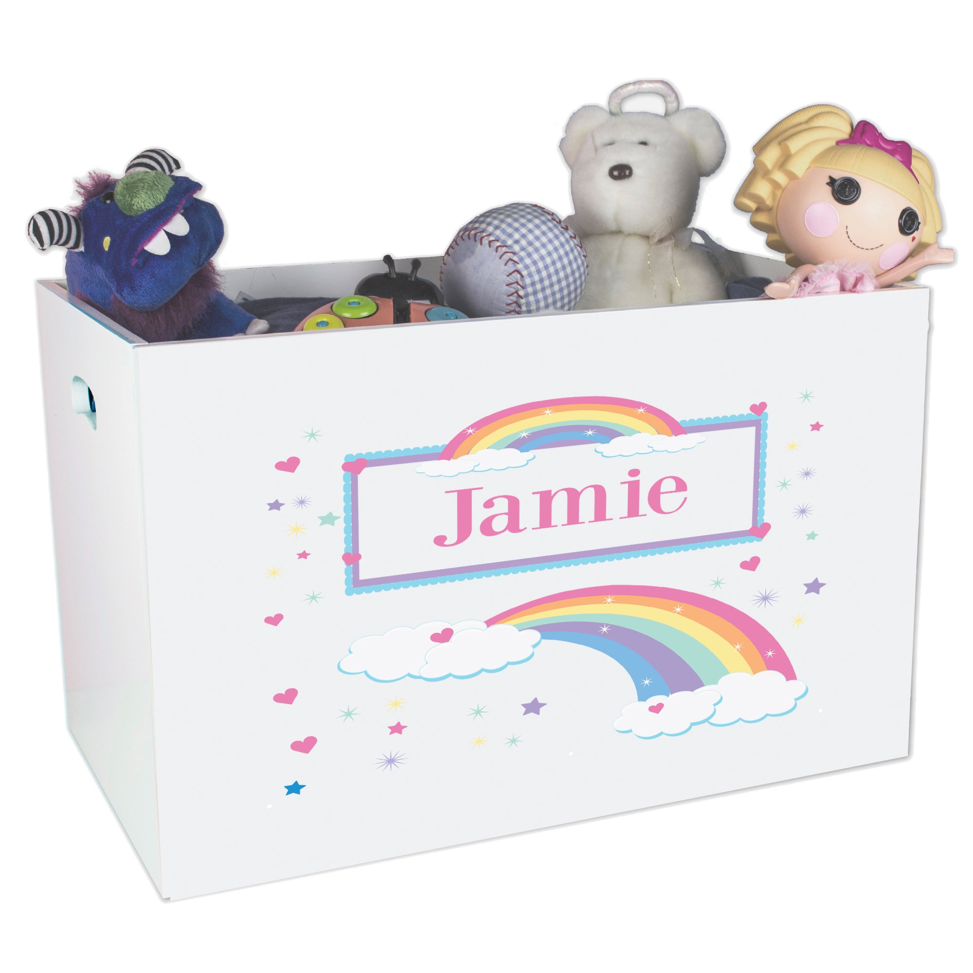 Personalized Rainbow Childrens Nursery White Open Toy Box