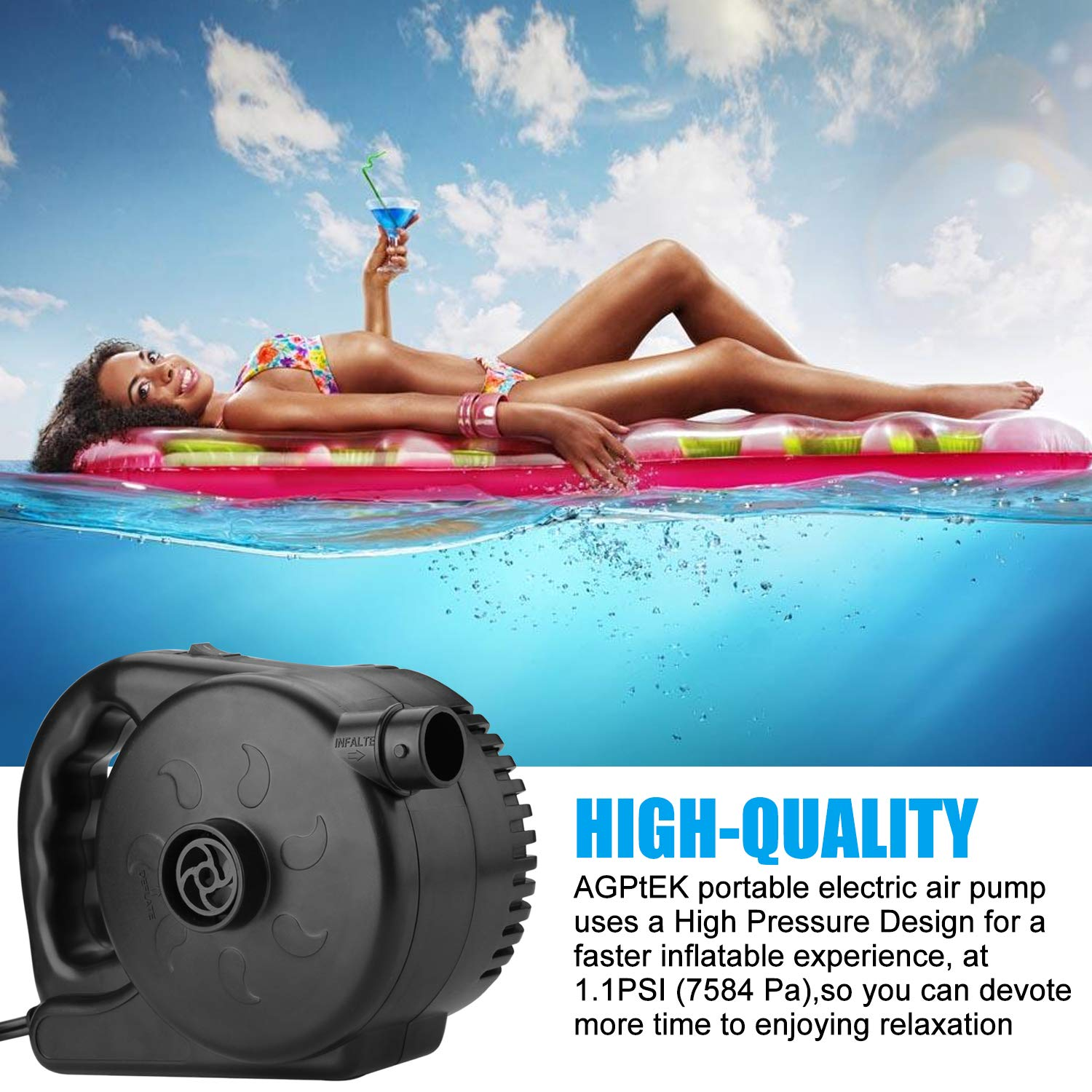 Inflatable Sofas /&Inflatable Pools etc Black Rafts High Power Air Pump Inflator /&Deflator Valve with 2 Nozzles 110 V AGPTEK Electric Air Pump Airbeds Fast Filling Air Pump for Swimming Rings