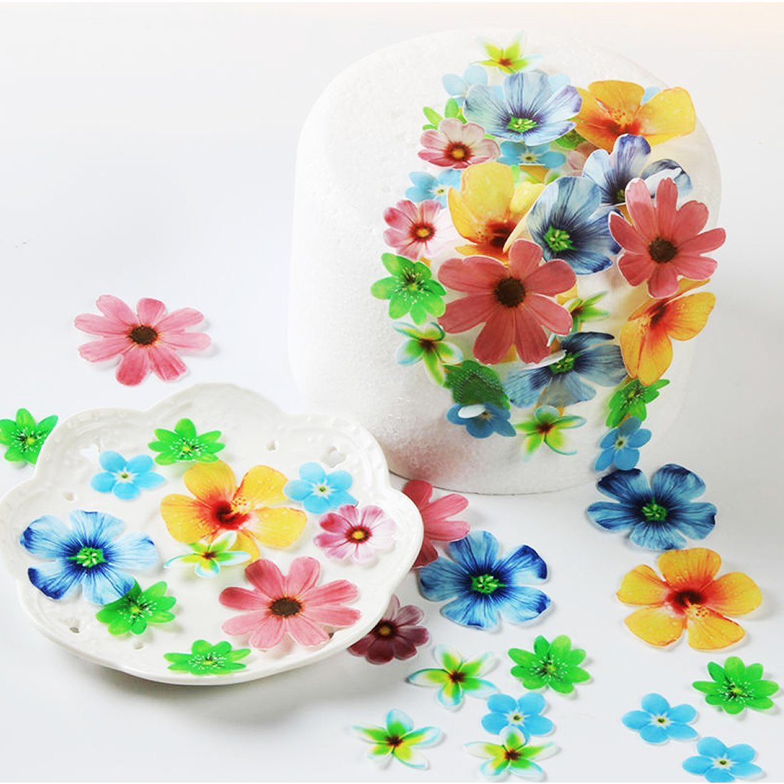 Amazon georld set of 48 edible flowers cupcake toppers wedding amazon georld set of 48 edible flowers cupcake toppers wedding cake birthday party food decoration grocery gourmet food izmirmasajfo