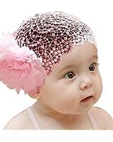 Baby Girl Toddler Cute Lace Wide Headband with Big Flower Stretch Headwear