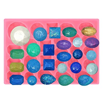 musykrafties 25 Small Diamond GEMS formas variadas Fondant Molde de silicona para Polímero Arcilla, Resina, decoración de tartas, MANUALIDADES proyectos: ...