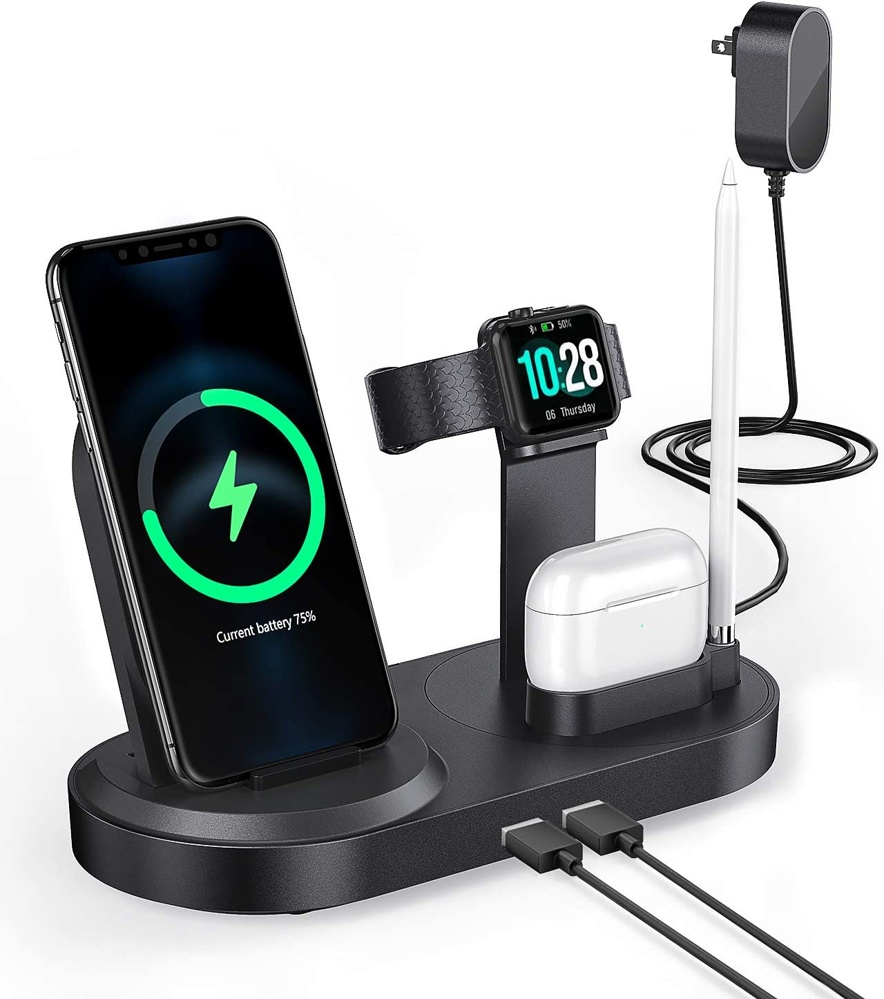 Wireless Charging Station - seenda Fast Charging Dock Stand with 2 USB Ports for Apple Watch, AirPods, Cell Phones, Wireless Charger Compatible with iPhone 11/11pro/Xr/Xs/X/Max/8/8 Plus/Samsung