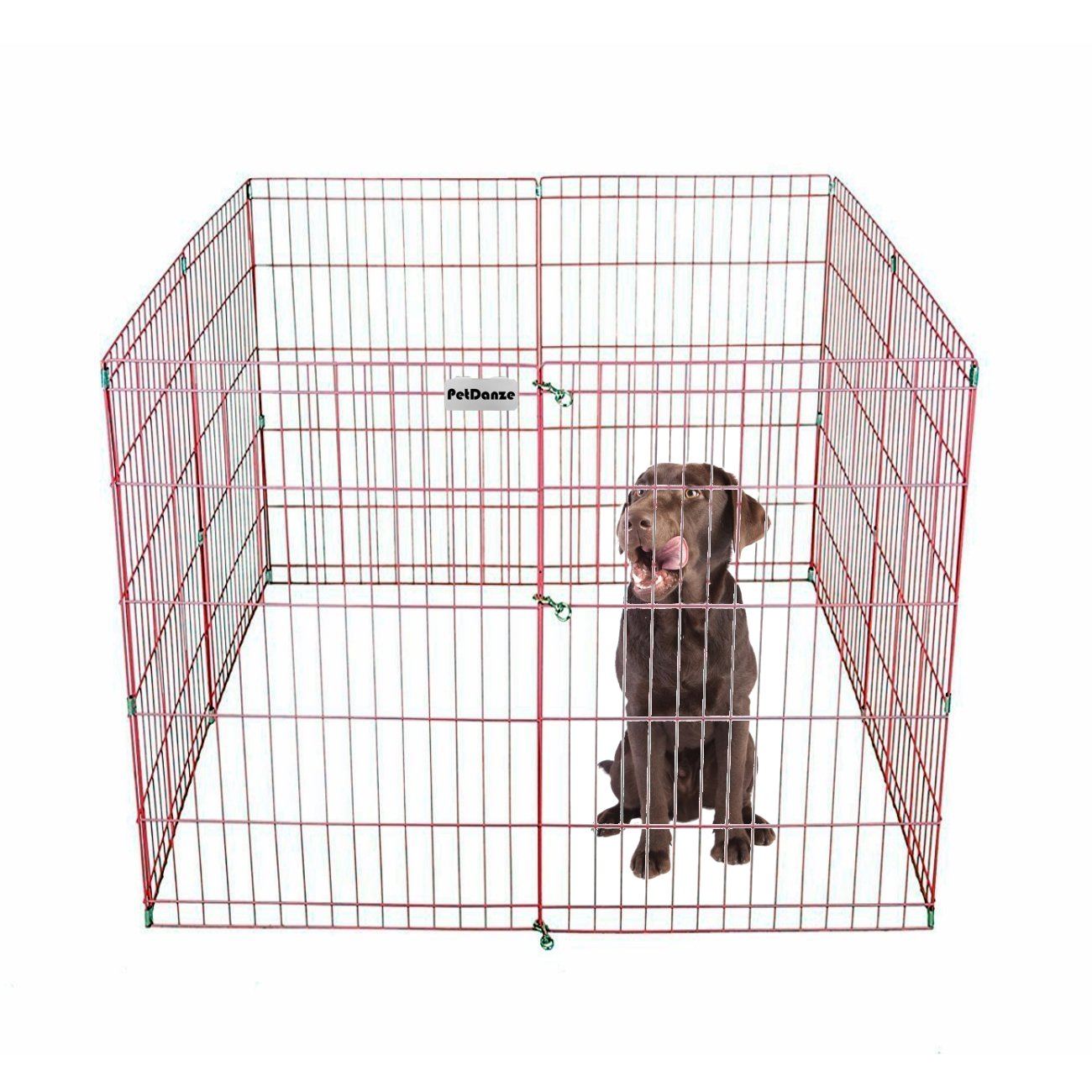 PetDanze Dog Puppy Playpen Pen 36'' Height | Indoor Outdoor Exercise Outside Play Yard | Pet Small Animal Puppies Portable Foldable Fence Enclosures | 8 Panel Metal Wire, Pink