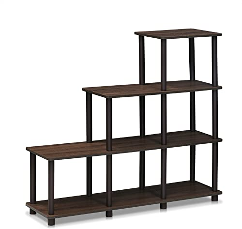 FURINNO Turn-N-Tube Ladder Space Shelf, Walnut Brown