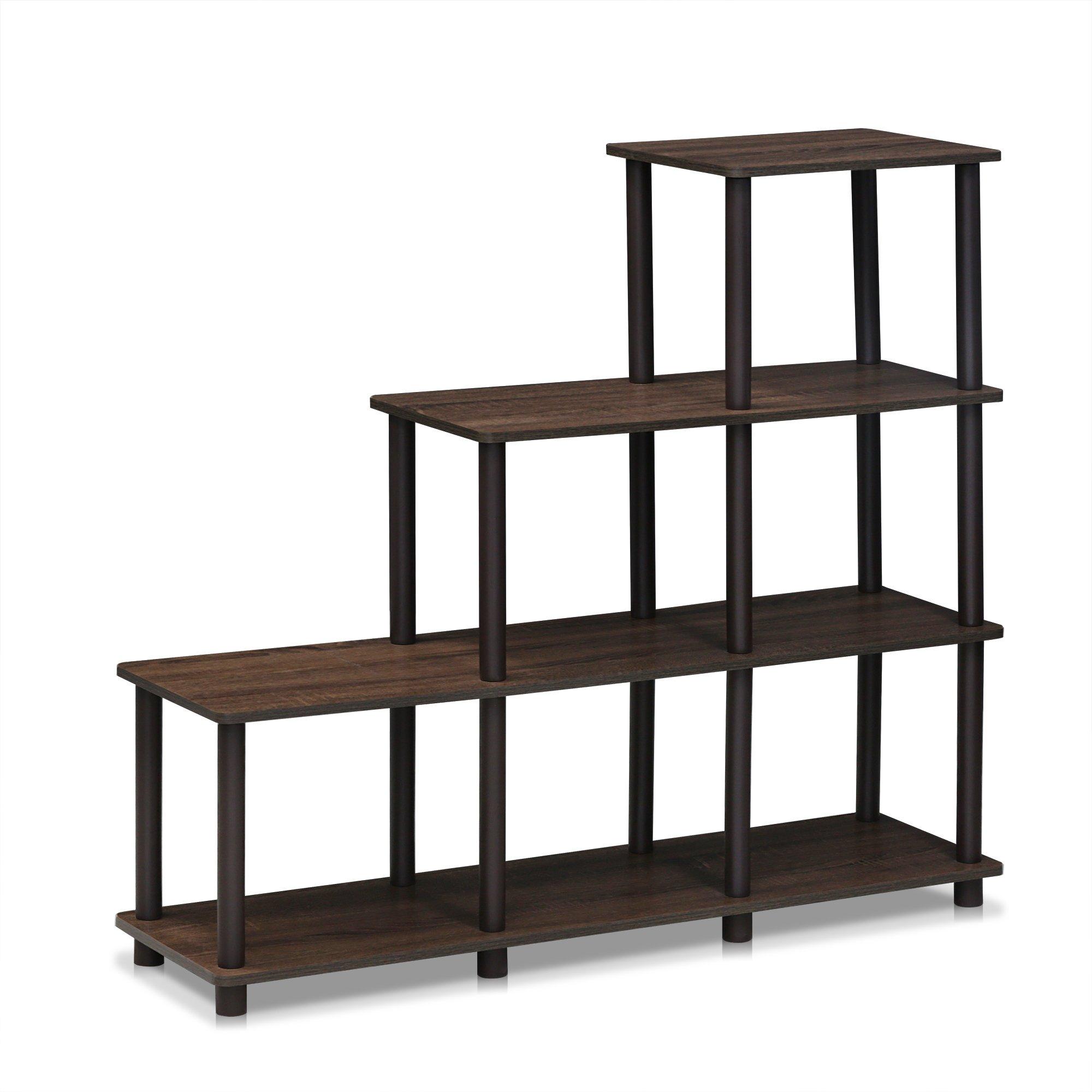 FURINNO Turn-N-Tube Ladder Space Shelf, Walnut/Brown by Furinno