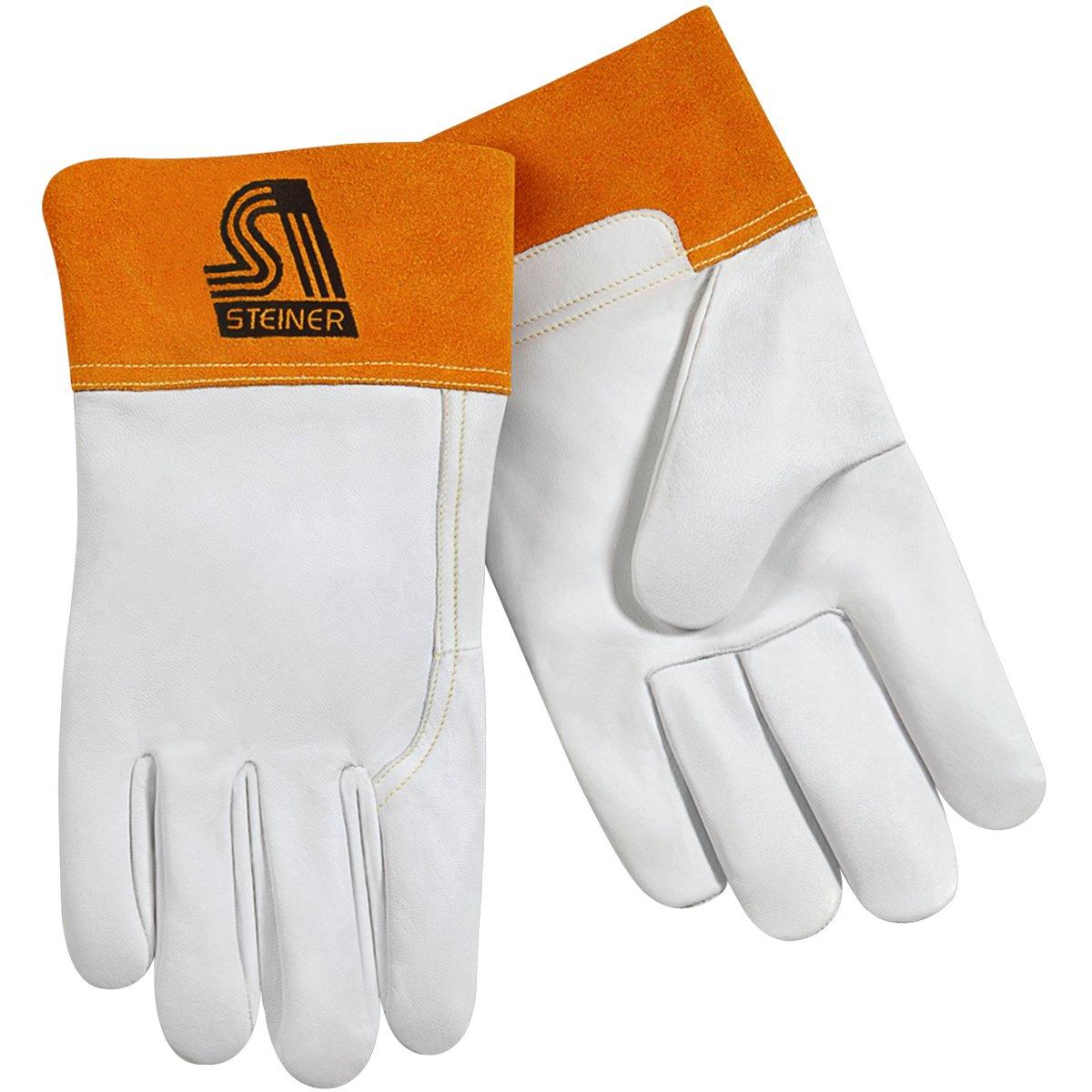 Steiner 0228-S TIG Gloves, Pearl Grain Goatskin Unlined 2-Inch Rust Cuff, Small