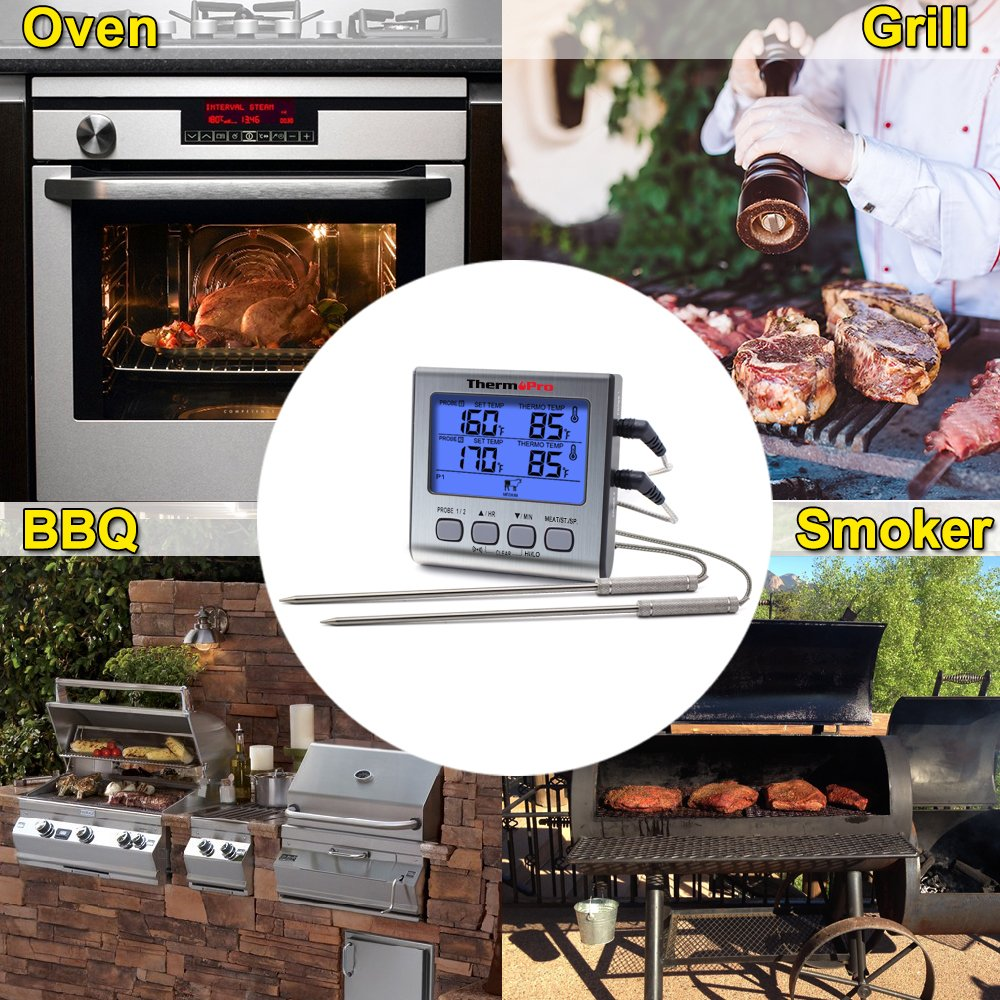 ThermoPro TP17 Dual Probe Digital Cooking Meat Thermometer Large LCD Backlight Food Grill Thermometer with Timer Mode for Smoker Kitchen Oven BBQ by ThermoPro (Image #4)