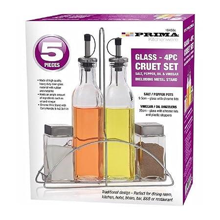 5/Piece Glass set sale e pepe con supporto cromato