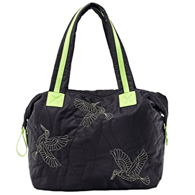d547ec039e2cc Amazon.com  Dream Control Quilted Nylon Contrast Tote Shopping Shopper Shoulder  Bag Black Black Neon  Clothing