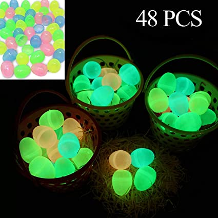 48 Pieces Glow In The Dark 2 3 8i Easter Eggs For Filling Specific Treats Easter Glow Theme Party Favor Easter Eggs Hunt Basket Stuffers Filler