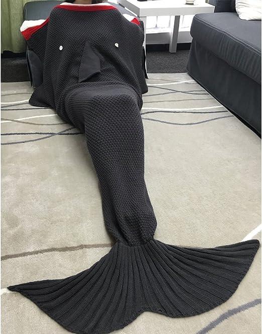 Manta polar para niños, diseño de tiburón, cola de sirena, suave ...