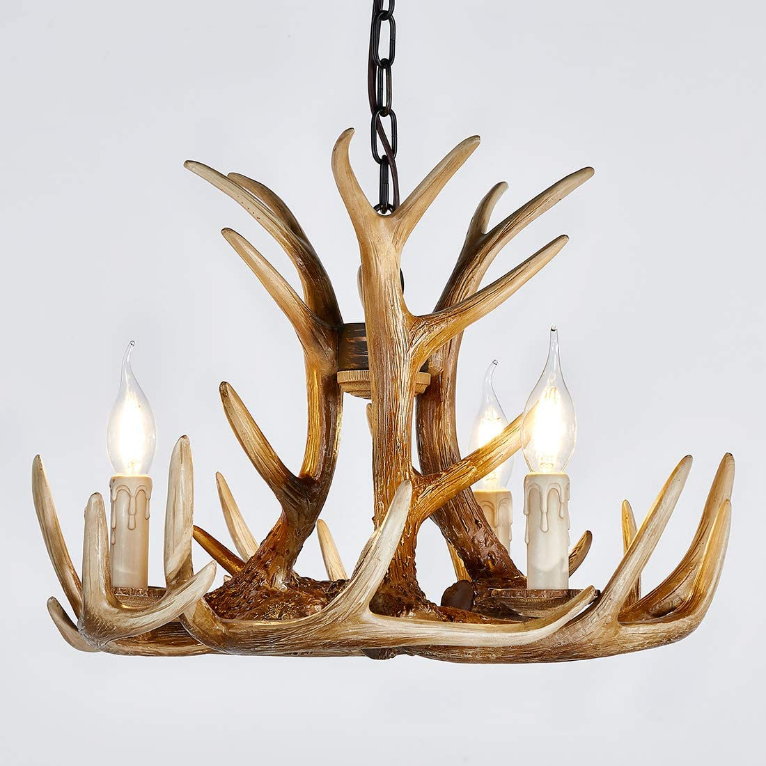 Resin Antler Chandelier 3 Light, Antler Lighting Vintage Style Deer Horn Ceiling Light for Living Room,Bar,Cafe, Dining Room