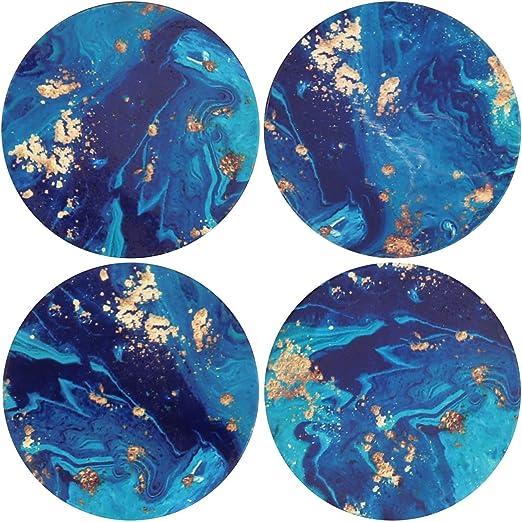 Posavasos de cerámica absorbente, posavasos de pintura al óleo azul océano, pack de 4 tapetes de corcho: Amazon.es: Hogar