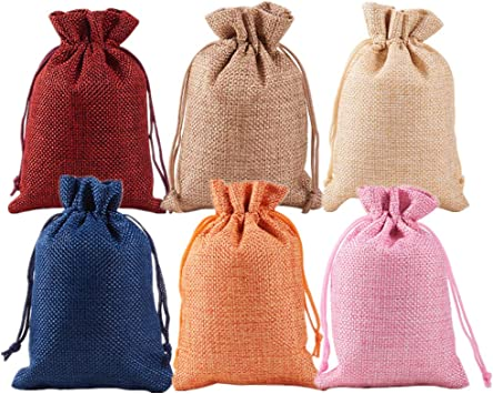Imagen deBENECREAT 30 PCS 6 Colores Activos Bolsas de Arpillera Bolsas de Regalo con Cordón Bolsa de Tela para Fiesta de Bodas y Artesanía de Bricolaje 5 PCS/Color