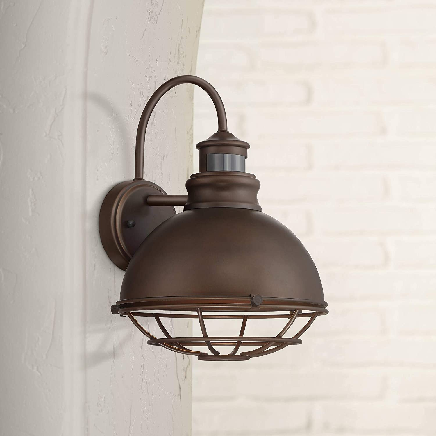 """Norton Industrial Outdoor Wall Light Fixture Urban Barn Oiled Bronze 14"""" Round Cage Motion Sensor for House Porch Patio"""