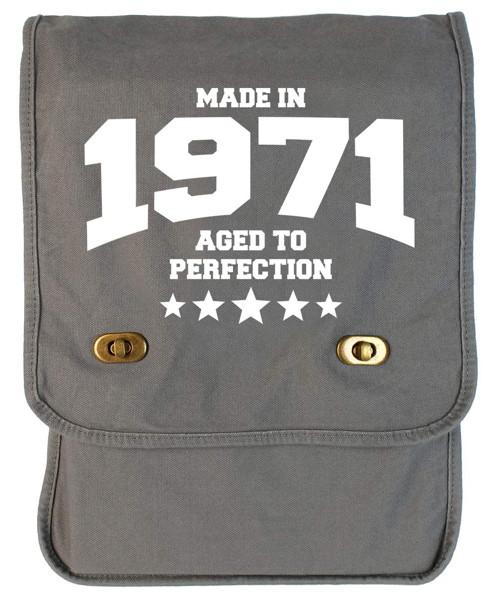 1971 Grey Brushed Canvas Messenger Bag Tenacitee Athletic Aged to Perfection
