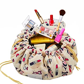 97c480ff24b Amazon.com   Adigow Portable Drawstring Makeup Bag Large Capacity Lazy  Cosmetic Organizer Pouch Magic Travel Toiletry Bags For Womens, Beige Makeup    Beauty