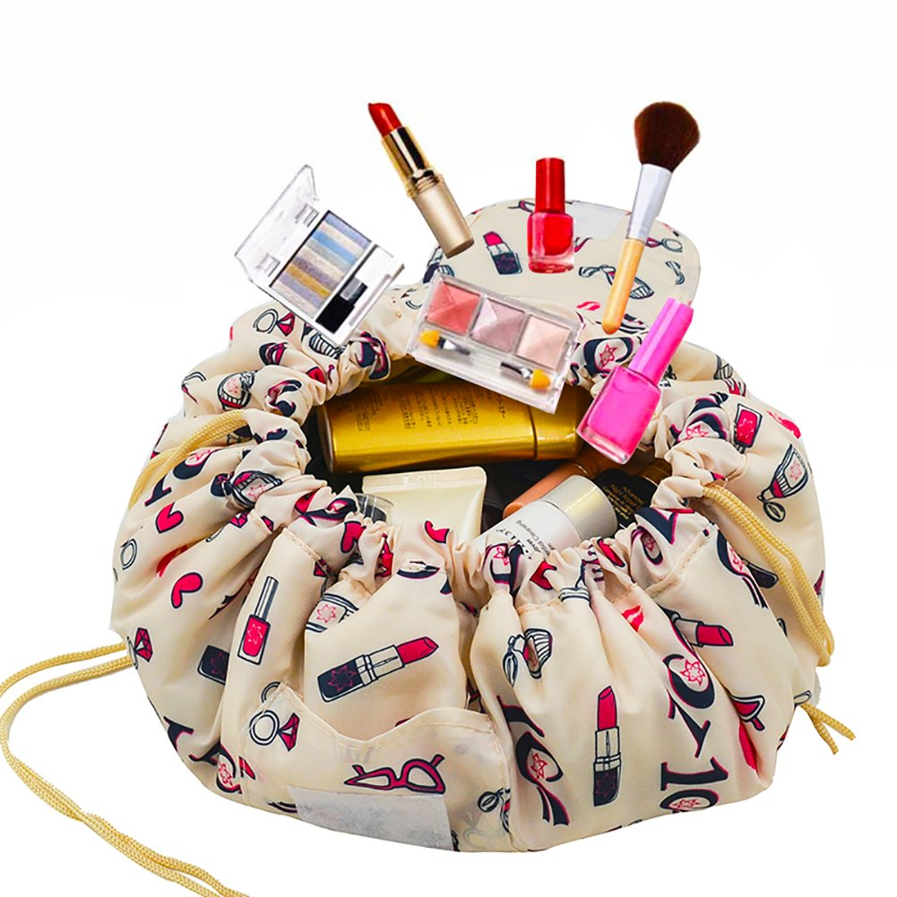 Adigow Portable Drawstring Makeup Bag Large Capacity Lazy Cosmetic Organizer Pouch Magic Travel Toiletry Bags For Womens,Beige Makeup