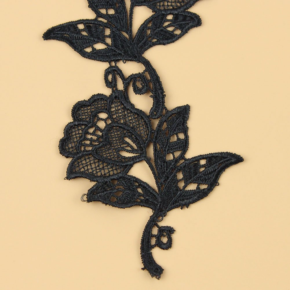 Floral Motifs Boho Lace Applique Trim Sequins Flower Embroidery Applique Sewing Craft 8 Yards