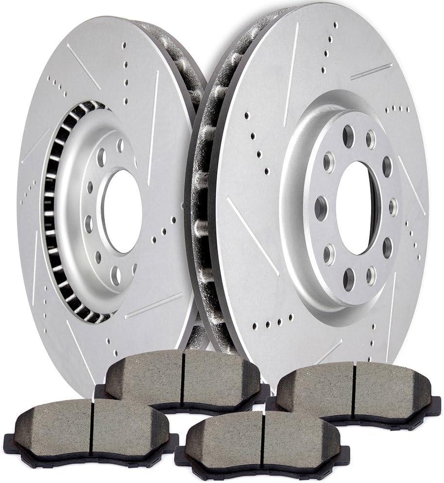 Max Brakes Front OE Series Rotors w//Ceramic Pads Premium Brake Kit KT184841 Fits 2015-2017 Chrysler 200 w//330mm Diameter Front Rotor