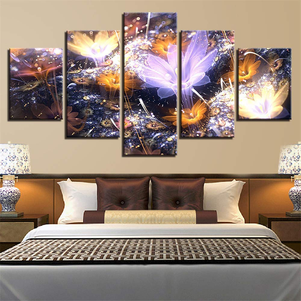 BBQBQ Decorative paintings,/Room five fight abstract flowers flowers hanging painting ink painting home murals modern style 8 painting core 10x15cmx2 10x20cmx2 10x25cmx1