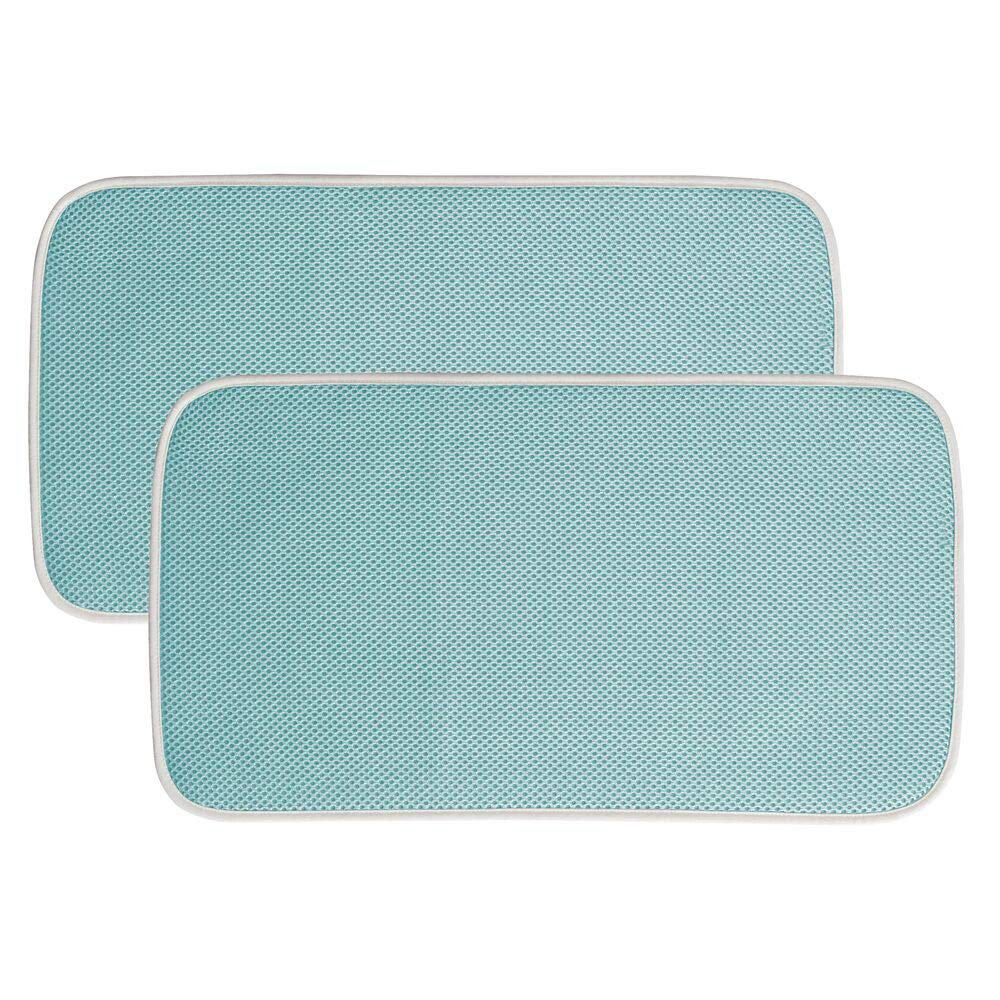 mDesign Ultra Absorbent Reversible Microfiber Dish Drying Mat and Protector for Kitchen Countertops, Sinks: Folds for Compact Storage, Mini by mDesign