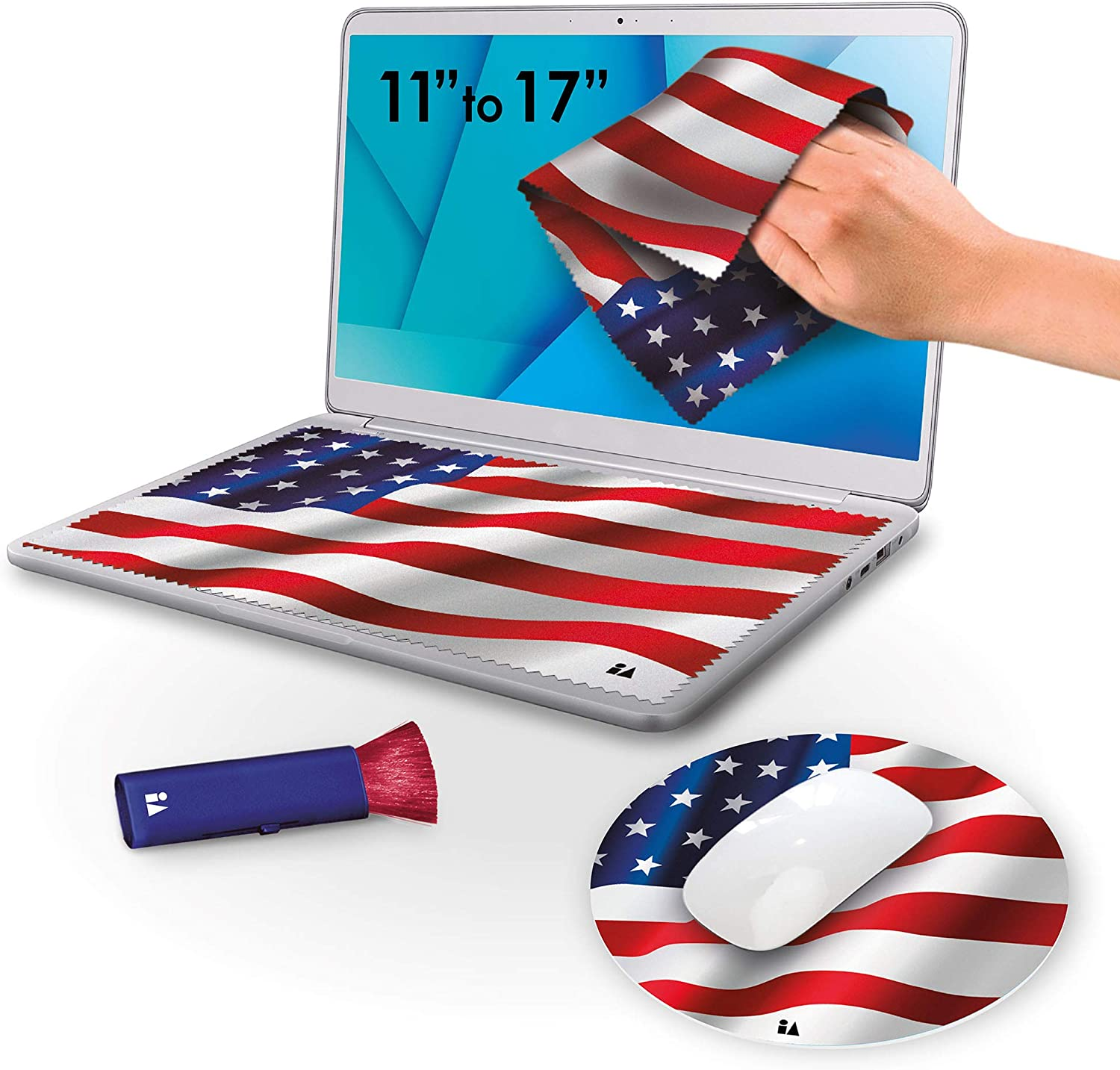 """4 in 1 Microfiber Laptop Screen Cleaning Cloth Set Keyboard Screen Protector Includes 2 Cloths, 1 Dust Brush, 1 Mousepad for 11"""" 12"""" 13"""" 14"""" 15"""" 17"""" Inch Computer Notebook Tablet (American-Flag)"""