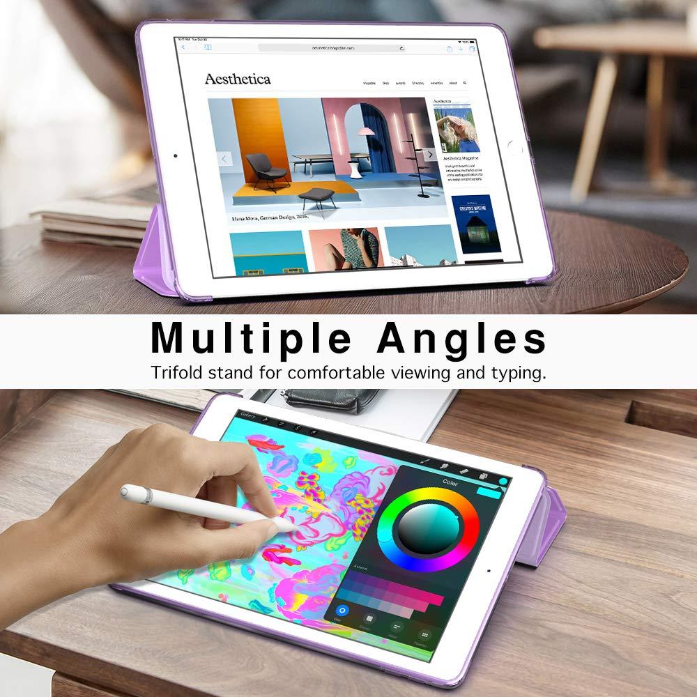 MoKo Funda para Nuevo iPad 7th Generation 10.2 2019 iPad 10.2 Ultra Delgado Funci/ón de Soporte Protectora Plegable Cubierta Transparente para iPad 10.2 2019 Tableta Flor de melocot/ón