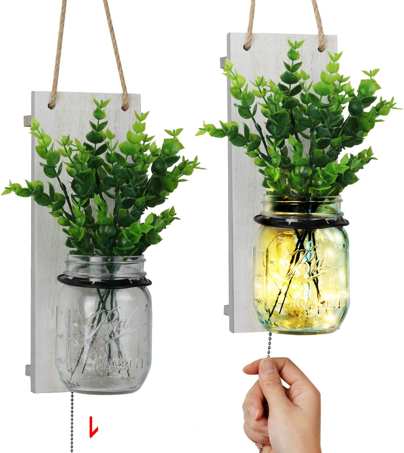 TJ.MOREE Mason Jar Sconce, Shabby Chic Wall Sconce Farmhouse Decor with Pull Chain Switch, Seasonal Interchangeable Green Fake Plant and LED Strip Lights Design for Home Decoration - White (Set of 2)
