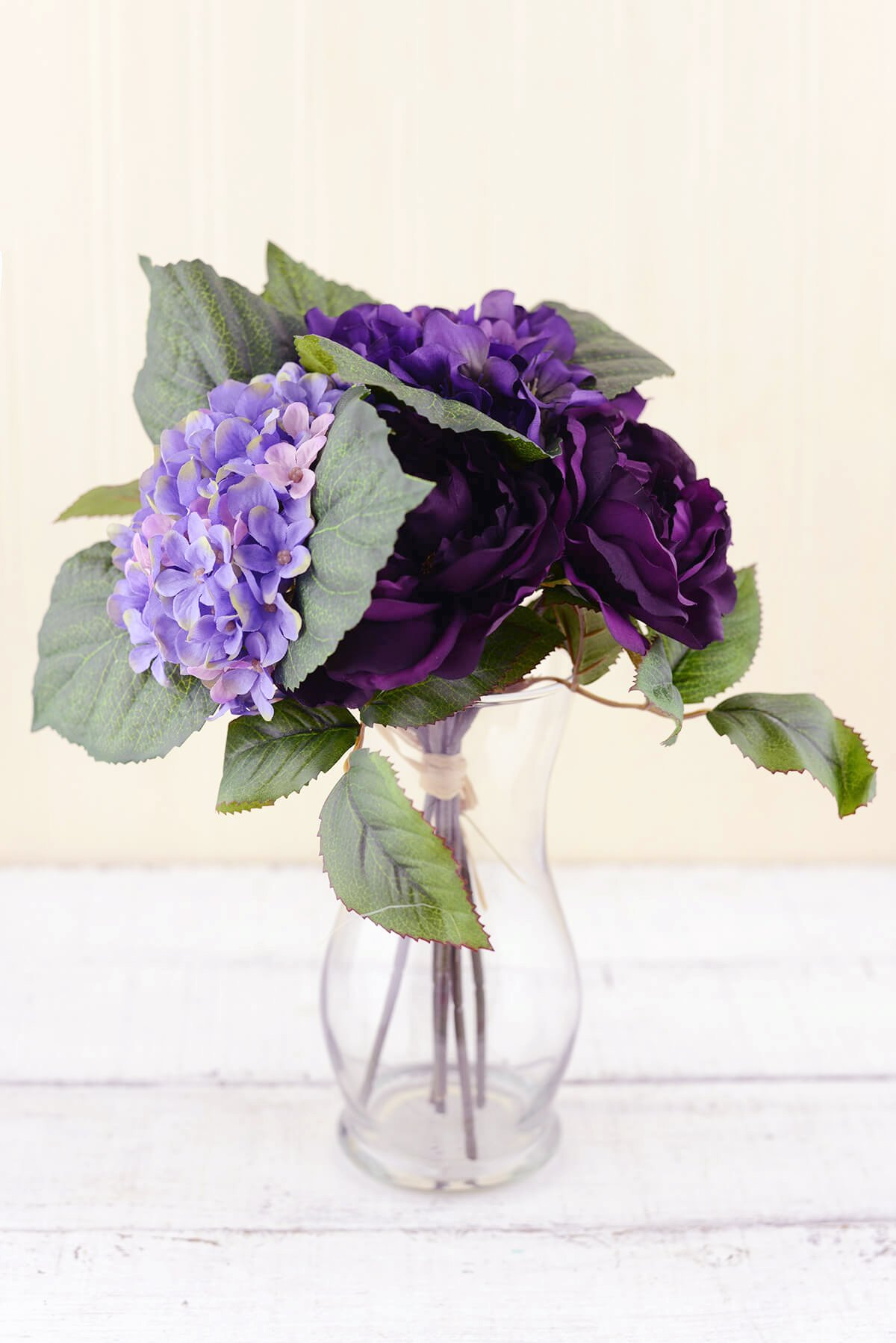 Dexon Power Purple Silk Hydrangea & Rose Flower Bouquet 12in