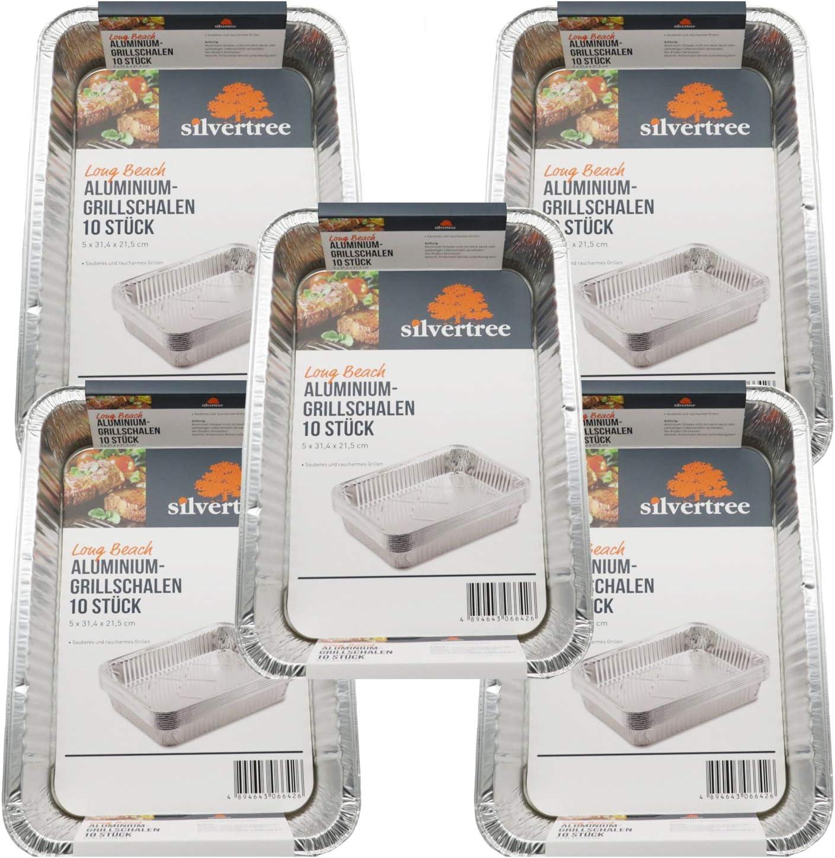 silvertree - Bandeja de Aluminio para Barbacoa, con Borde Alto, 5 Paquetes = 50 Unidades, 31 x 22 x 5 cm