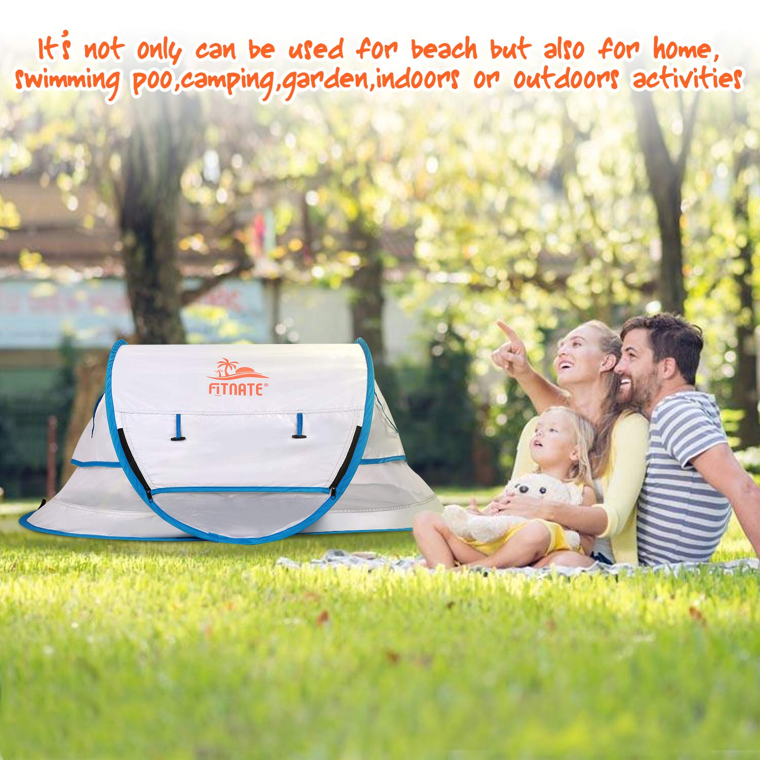 with Moisture-Proof Pad Infant Sun Shelters Pop Up with Storage Bag,2 Pegs for Outdoor and Indoor Use FITNATE Baby Beach Tent Portable Baby Travel Tent UPF 50