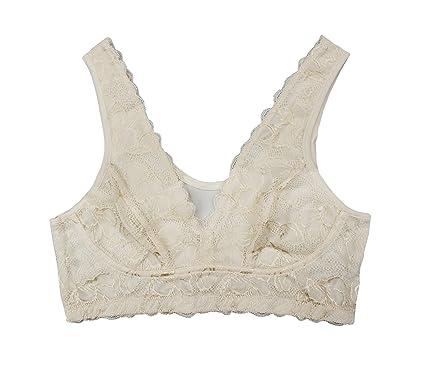 f2d9407085 Farlenoyar Women 100% Silk Lace Bra Healthy Underwear Body Smooth Sport  Yoga Bra at Amazon Women s Clothing store