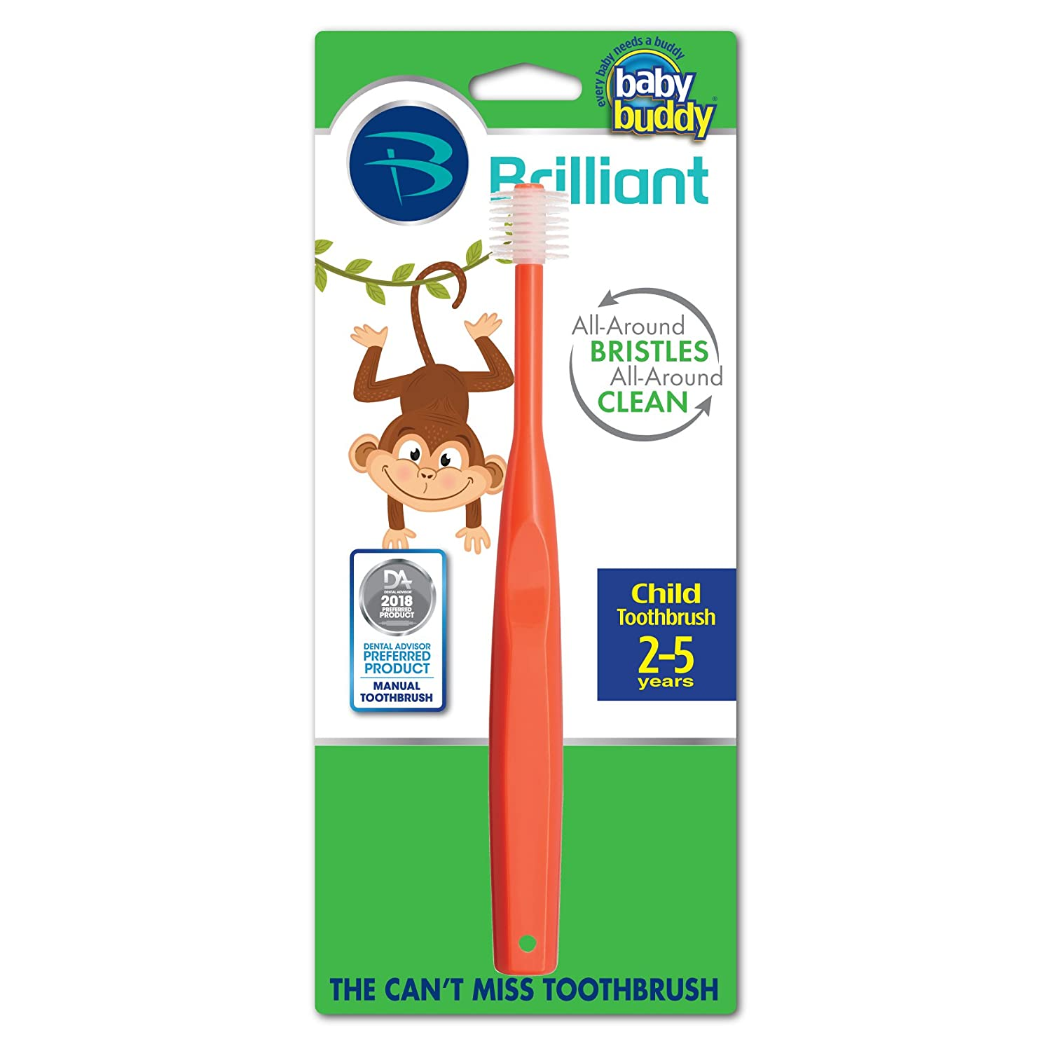 Brilliant Child Toothbrush by Baby Buddy - For Ages 2+ Years, BPA Free Super-Fine Micro Bristles Clean All-Around Mouth, Kids Love Them, Red, 3 Count 03576RD