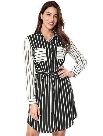 1623aef52e Allegra K Women s Long Sleeve Belted Contrast Striped Shirt Dress w Pockets  Black XS