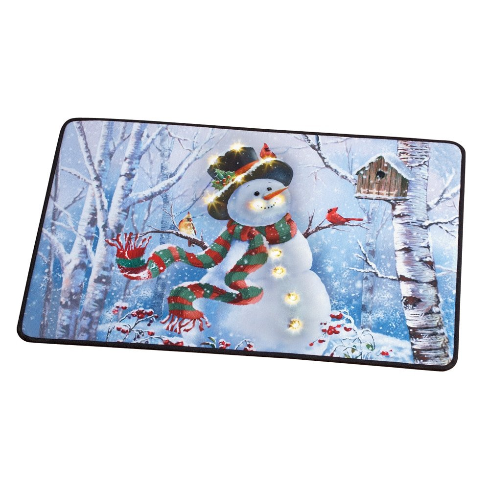 Collections Etc Lighted LED Festive Winter Snowman and Birds Scene Christmas Rug - Holiday Decor for Any Room in Home Winston Brands