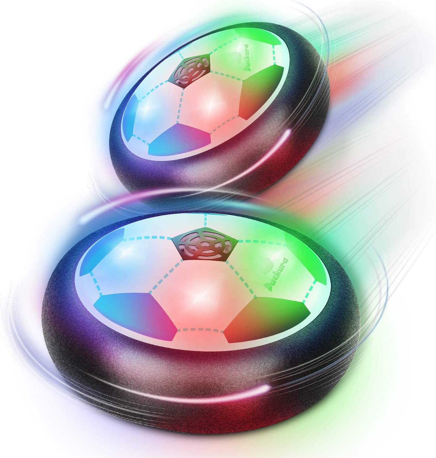 Duckura Air Hover Soccer Balls Toys for Kids, Indoor Games Activities with LED Lights and Foam Bumpers, Christmas Birthday Party Gifts Toys for Boys Girls Toddlers Age 5 6 7 8 9 10 Years Old (2 Pack)
