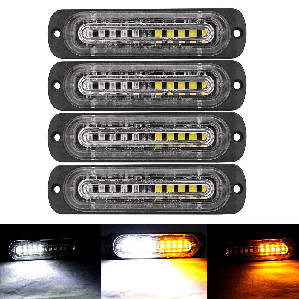 XT AUTO 4.4-inch Ultra Thin Slim Strobe 10 LED Light Head Emergency Hazard Beacon Caution Warning Strobe Lights for Truck Car Vehicle Law Enforcement Snow Plow Amber/White 4-pack