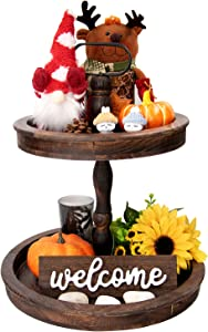 Qlfyuu Farmhouse Tiered Tray Wooden Two Tier Tray Rustic Cake Stand 2 Tiered Serving Tray Kitchen Décor Table Stand for Dessert,Cupcake,Fruit,Cake Round Tray for Kitchen Counter,Brown