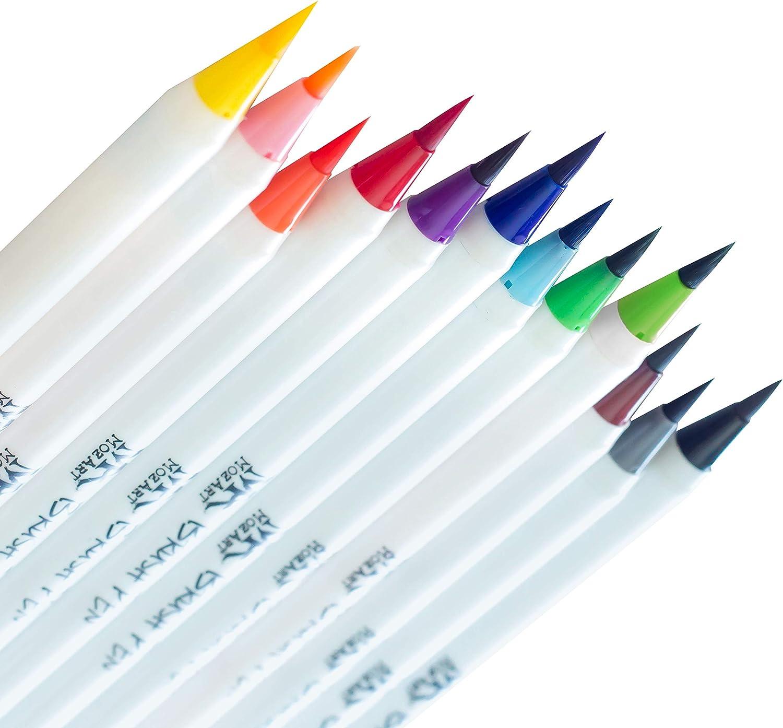 Caligraf/ía y Lettering Juego Ideal para Dibujos de Todo Tipo Brush Pen 12 Colores con Efectos Acuarela MozArt Supplies Set Multicolor de Rotuladores con Punta de Pincel