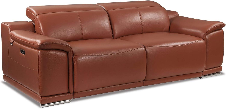 Blackjack Furniture Lorenzo Mid Century Modern Italian Leather Living Room Power Reclining, Sofa, 86