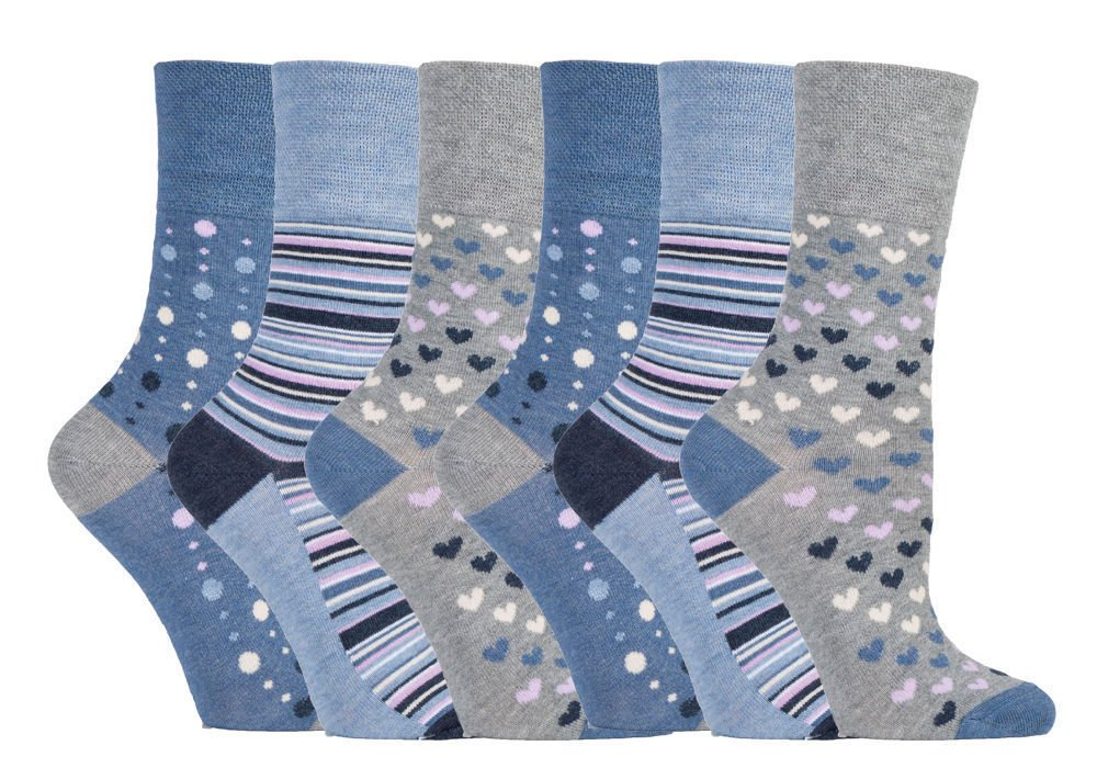 Ladies Gentle Grip Loose Wide Top Non-Binding Bamboo Socks Hearts Dots Stripes (BlueGrey35, 6)