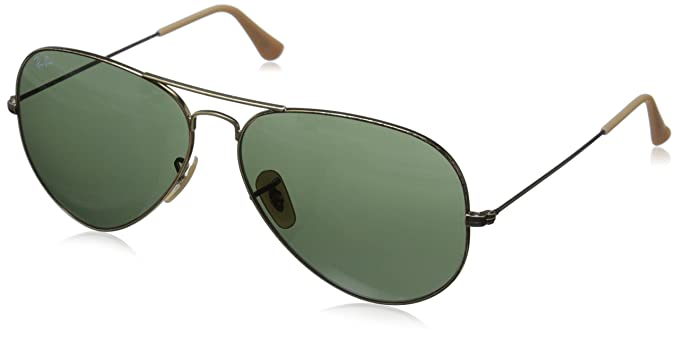 ray ban aviators glass lenses  ray ban aviator large metal antique gold frame green lenses 62mm non polarized