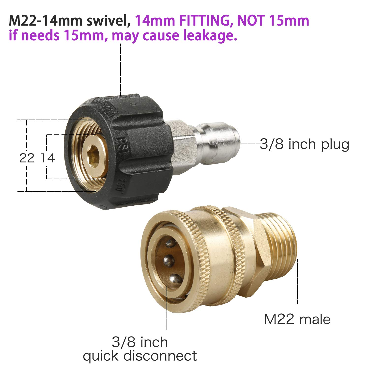 Atmozon Pressure Washer Adapter Gun Hose Set Fittings,Quick Connect Disconnect Kit,M22 14 Swivel to 3/8'' Quick Connect, 3/4'' to Quick Release, 8 Pack by Atmozon