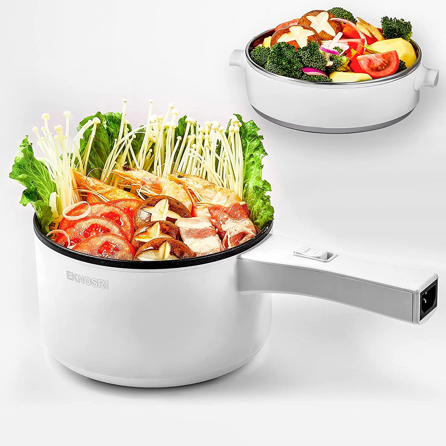 Hot Pot Electric, Mini Hot Pot with Stainless Steel Food Steamer, Non-stick 1.5L Capacity Pot and Adjustable Temperature (350W~700W) for Rapid Noodles Cook, Egg, Steak, Steam, Oatmeal and Soup Cooker - Pure White