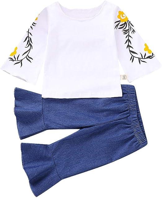 2PCS Toddler Kids Baby Girl Ruffle Long Sleeve Top Floral Bell-bottoms Pants Set